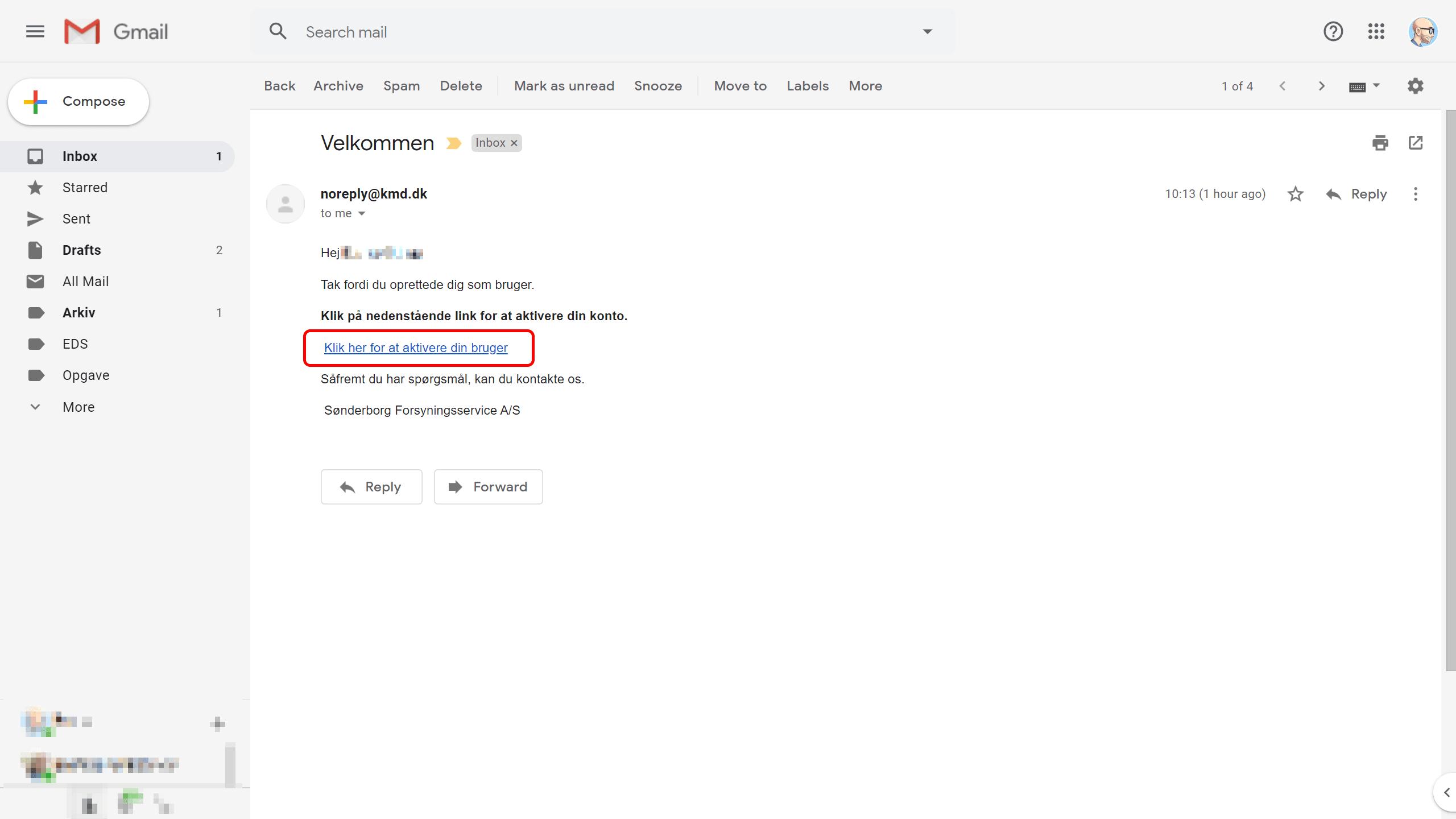 3: Du har nu modtaget en mail med et link - klik på linket