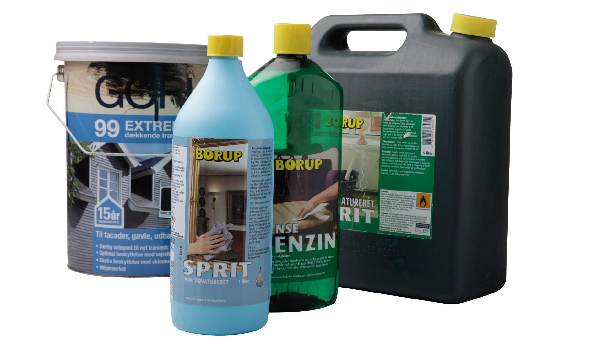 Kemikalieemballage, malingspand, spritflaske og benzinflaske Spritdunk