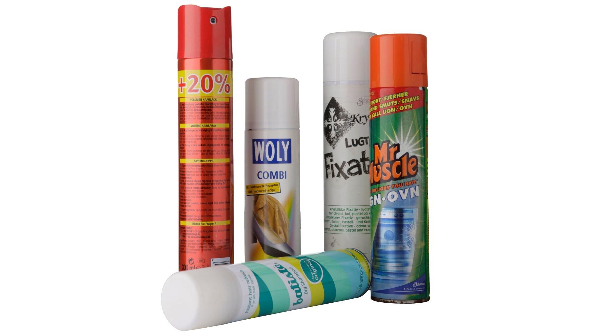 Spraydaser, hairspray og ovnrensampoo
