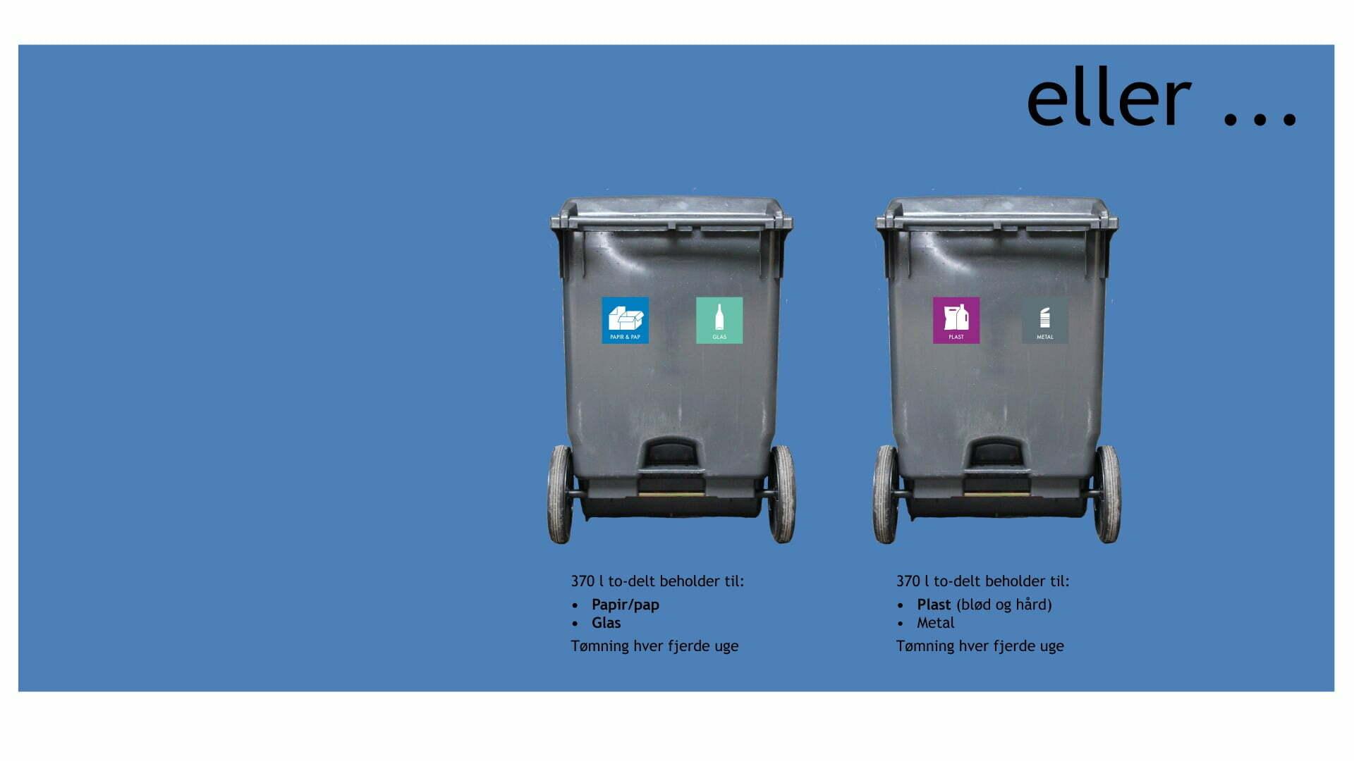 Har du brug for mere plads til dine genbrugsmaterialer, kan du udskifte en eller begge beholderne til todelte beholdere på hver 370 Liter.